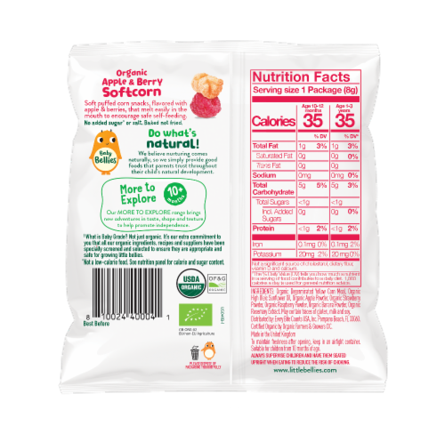 Little Bellies Baby Bellies Organic Apple & Berry Softcorn Snack Perspective: back