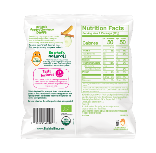 Little Bellies Baby Bellies Organic Apple & Cinnamon Puffs Snack Perspective: back