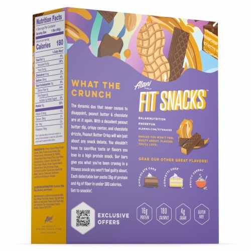 Alani NU Fit Snacks Peanut Butter Crisp Protein Bar Perspective: back
