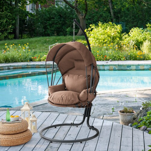 Hanging Egg Chair Swing Lounge Chair Canopy Cover with Stand, Brown Perspective: back