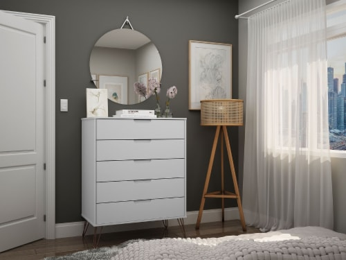 Manhattan Comfort Rockefeller 5-Drawer Tall Dresser with Metal Legs in White Perspective: back