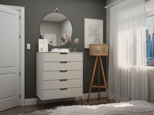 Manhattan Comfort Rockefeller 5-Drawer Tall Dresser with Metal Legs in Off White and Nature Perspective: back