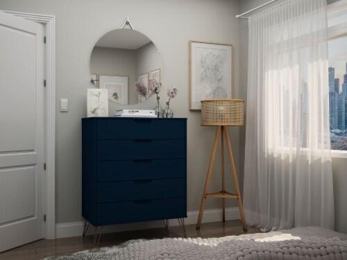 Manhattan Comfort Rockefeller 5-Drawer Tall Dresser with Metal Legs in Tatiana Midnight Blue Perspective: back