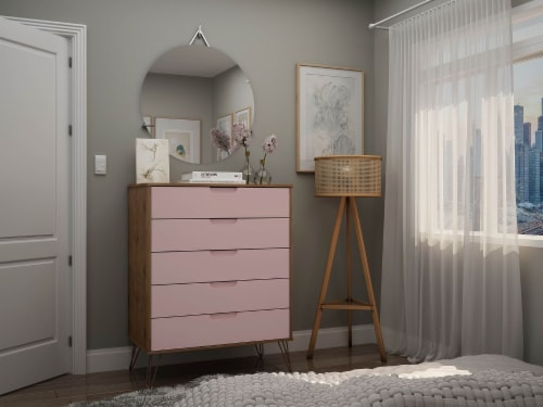 Manhattan Comfort Rockefeller 5-Drawer Tall Dresser with Metal Legs in Nature and Rose  Pink Perspective: back