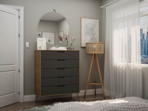 Rockefeller 5-Drawer Tall Dresser with Metal Legs in Nature and Textured Grey Perspective: back