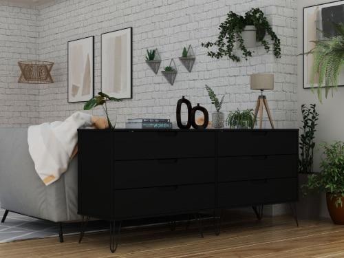 Manhattan Comfort Rockefeller 6-Drawer Double Low Dresser with Metal Legs in Black Perspective: back