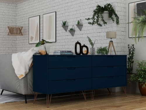 Rockefeller 6-Drawer Double Low Dresser with Metal Legs in Tatiana Midnight Blue Perspective: back