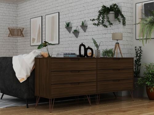 Manhattan Comfort Rockefeller 6-Drawer Double Low Dresser with Metal Legs in Brown Perspective: back