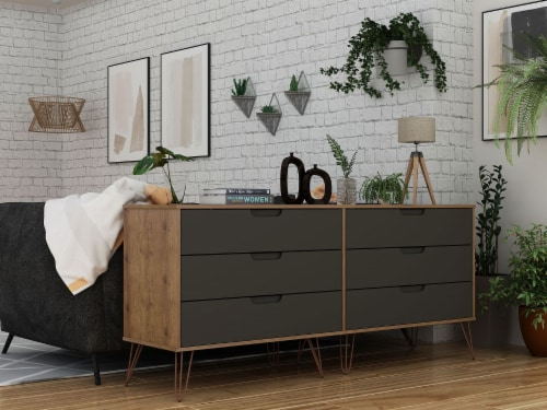 Rockefeller 6-Drawer Double Low Dresser with Metal Legs in Nature and Textured Grey Perspective: back