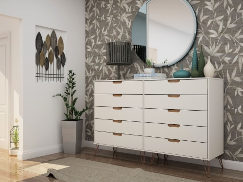 Rockefeller 10-Drawer Double Tall Dresser with Metal Legs in Off White and Nature Perspective: back