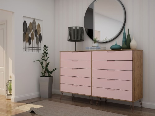 Rockefeller 10-Drawer Double Tall Dresser with Metal Legs in Nature and Rose  Pink Perspective: back