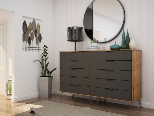 Rockefeller 10-Drawer Double Tall Dresser with Metal Legs in Nature and Textured Grey Perspective: back