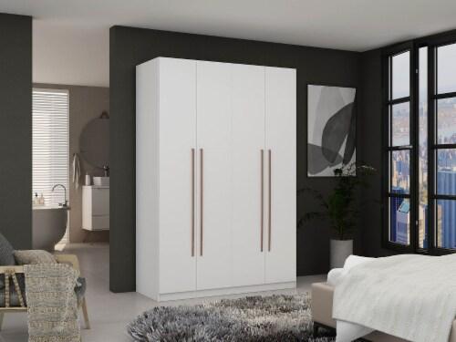 Manhattan Comfort Gramercy Modern 2-Section Freestanding Wardrobe Armoire Closet in White Perspective: back