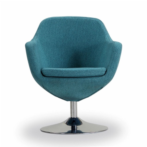Manhattan Comfort Caisson Blue and Polished Chrome Twill Swivel Accent Chair Perspective: back