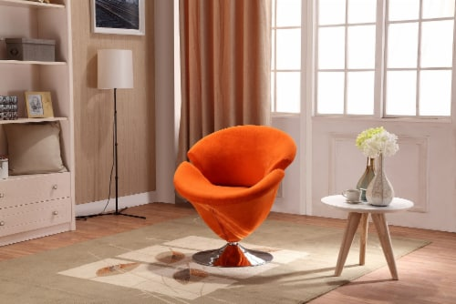 Manhattan Comfort Tulip Orange and Polished Chrome Velvet Swivel Accent Chair Perspective: back
