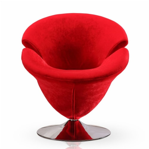 Manhattan Comfort Tulip Red and Polished Chrome Velvet Swivel Accent Chair Perspective: back