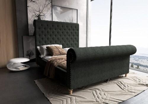 Manhattan Comfort Empire Charcoal Queen Bed Perspective: back
