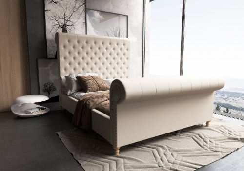 Manhattan Comfort Empire Cream Queen Bed Perspective: back