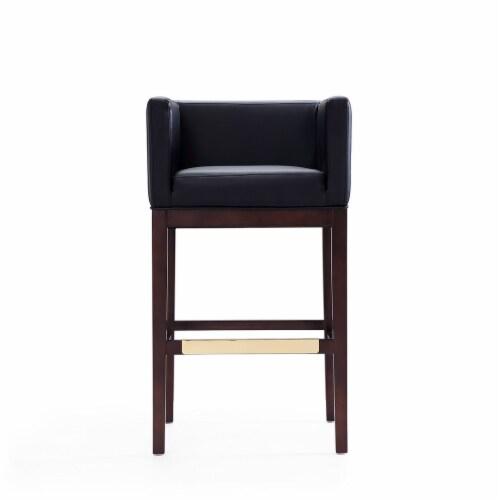 Manhattan Comfort Kingsley 38 in. Black and Dark Walnut Beech Wood Barstool Perspective: back