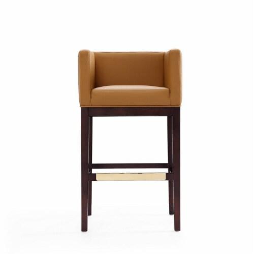 Manhattan Comfort Kingsley 38 in. Camel and Dark Walnut Beech Wood Barstool Perspective: back