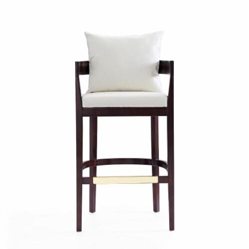 Manhattan Comfort Ritz 38 in. Ivory and Dark Walnut Beech Wood Barstool Perspective: back