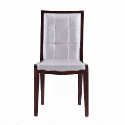 Manhattan Comfort Executor Silver and Walnut Faux Leather Dining Chairs (Set of Two) Perspective: back
