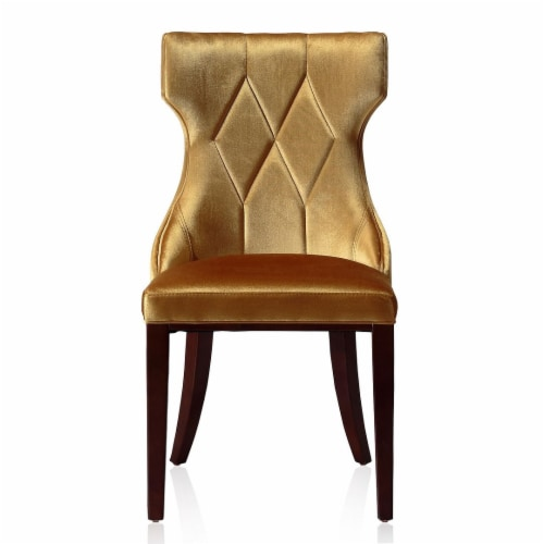 Manhattan Comfort Reine Antique Gold and Walnut Velvet Dining Chair (Set of Two) Perspective: back