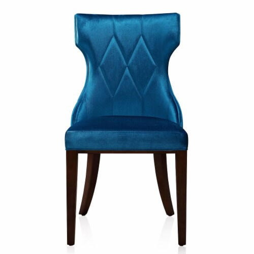 Manhattan Comfort Reine Cobalt Blue and Walnut Velvet Dining Chair (Set of Two) Perspective: back