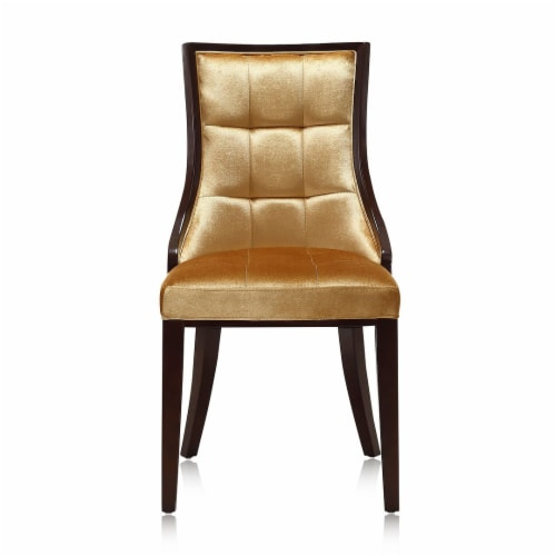 Manhattan Comfort Fifth Avenue Antique Gold and Walnut Velvet Dining Chair (Set of Two) Perspective: back