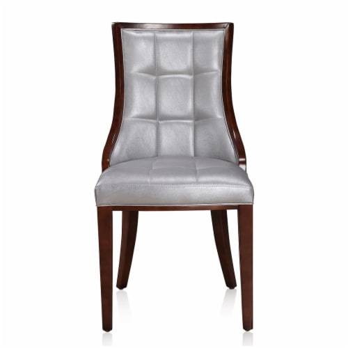 Manhattan Comfort Fifth Avenue Silver and Walnut Faux Leather Dining Chair (Set of Two) Perspective: back