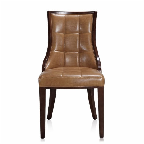 Manhattan Comfort Fifth Avenue Saddle and Walnut Faux Leather Dining Chair (Set of Two) Perspective: back