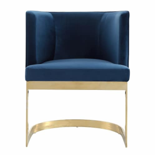 Manhattan Comfort Aura Royal Blue and Polished Brass Velvet Dining Chair Perspective: back