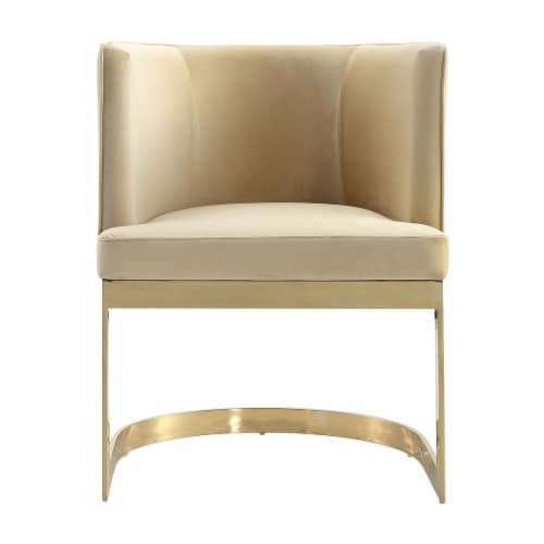 Manhattan Comfort Aura Sand and Polished Brass Velvet Dining Chair Perspective: back