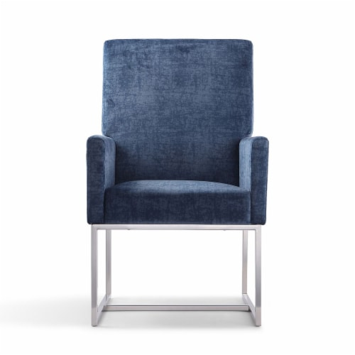 Manhattan Comfort Element Blue Velvet Dining Armchair Perspective: back