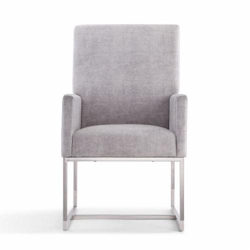 Manhattan Comfort Element Grey Velvet Dining Armchair Perspective: back