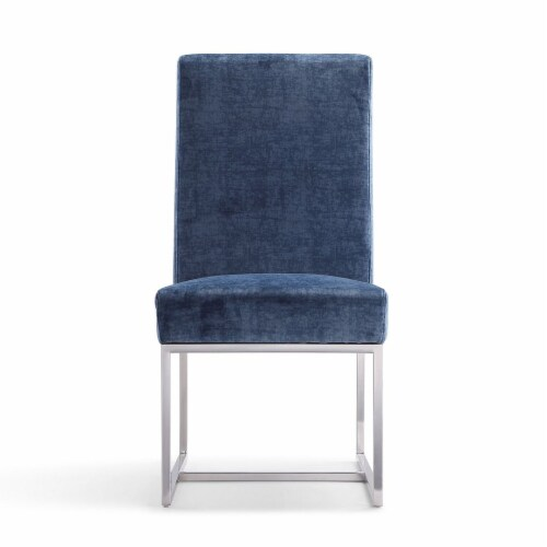 Manhattan Comfort Element Blue Velvet Dining Chair Perspective: back