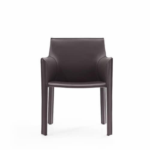 Manhattan Comfort Vogue Grey Faux Leather Arm Chair Perspective: back