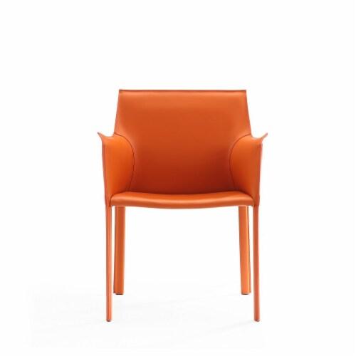 Manhattan Comfort Paris Coral Saddle Leather Armchair Perspective: back