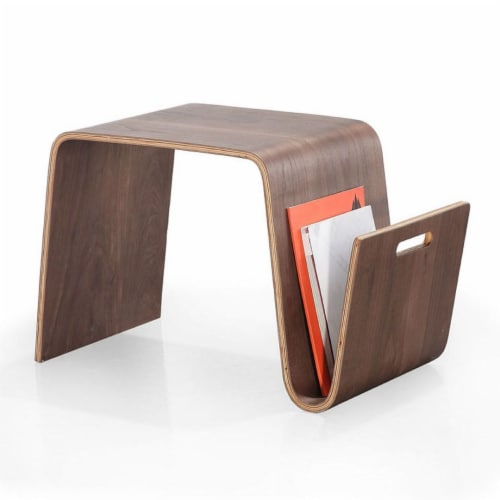 Manhattan Comfort Brookside 25.6 in. Walnut Rectangle Plywood and Ash Veneer End Table Perspective: back