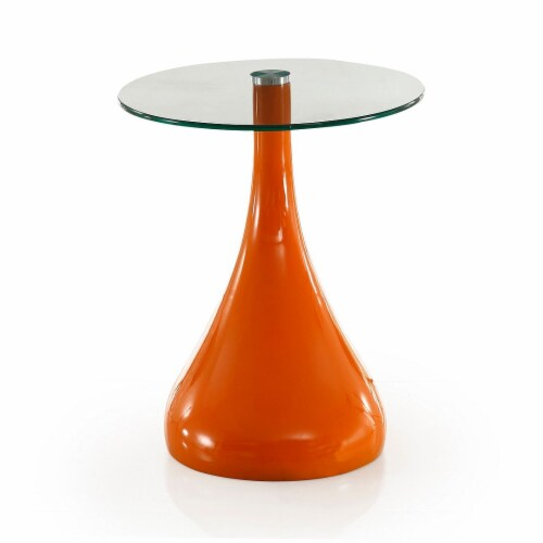Manhattan Comfort Lava 19.7 in. Orange Glass Top Accent Table Perspective: back