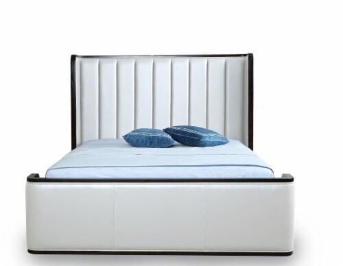 Manhattan Comfort Kingdom Cream Queen Bed Perspective: back