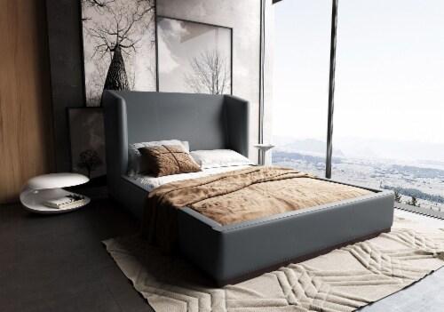 Manhattan Comfort Lenyx Graphite Full Bed Perspective: back
