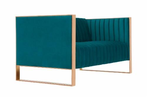 Manhattan Comfort Trillium 57.48 in. Aqua Blue and Rose Gold Velvet 2-Seater Loveseat Perspective: back