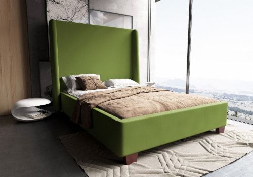 Manhattan Comfort Parlay Pine Green Full Bed Perspective: back