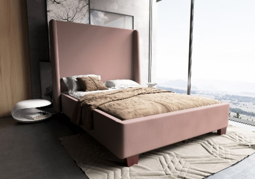 Manhattan Comfort Parlay Blush Queen Bed Perspective: back