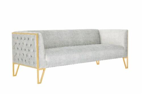 Manhattan Comfort Vector 81.5 in. Grey and Gold Velvet 3-Seat Sofa Perspective: back