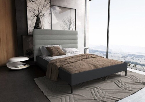 SCHWAMM FULL-SIZE BED IN LIGHT GREY Perspective: back