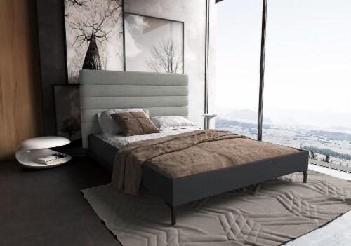 SCHWAMM QUEEN BED IN LIGHT GREY Perspective: back