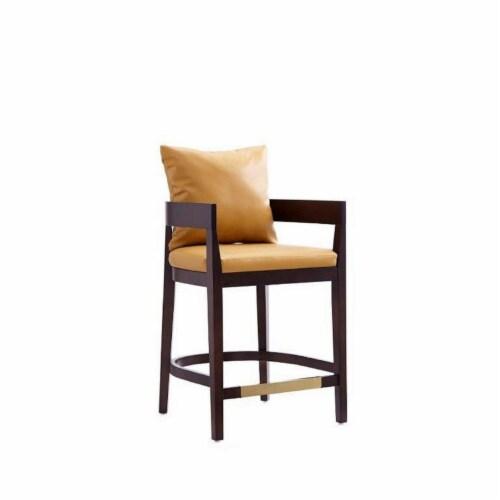 Manhattan Comfort Ritz 34 in. Camel and Dark Walnut Beech Wood Counter Height Bar Stool Perspective: back