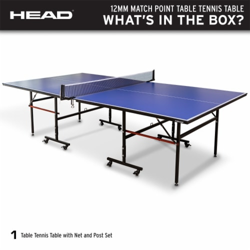 HEAD 1-1-33012-DS 12 Millimeter Surface Match Point Ping Pong Table with Net Perspective: back